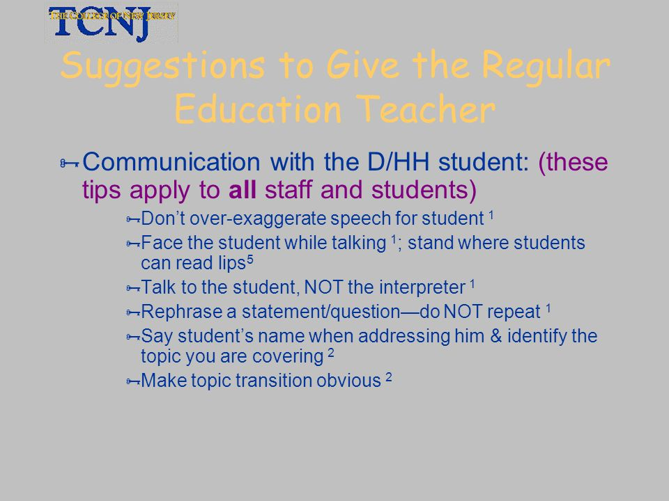 Suggestions to Give the Regular Education Teacher