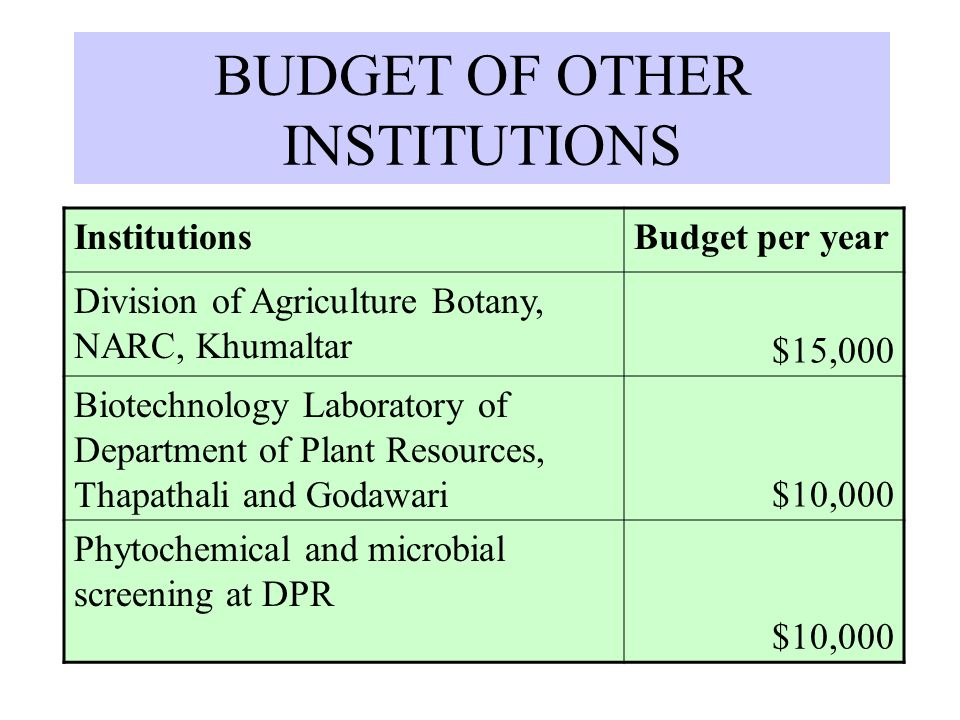 BUDGET OF OTHER INSTITUTIONS