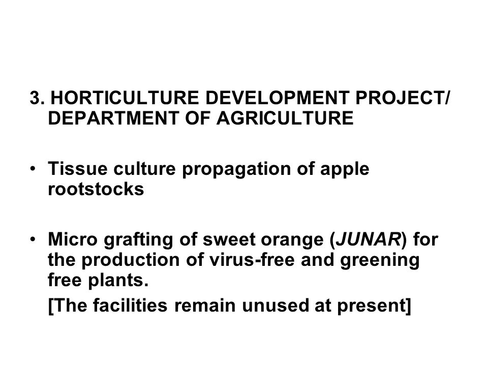 3. HORTICULTURE DEVELOPMENT PROJECT/ DEPARTMENT OF AGRICULTURE