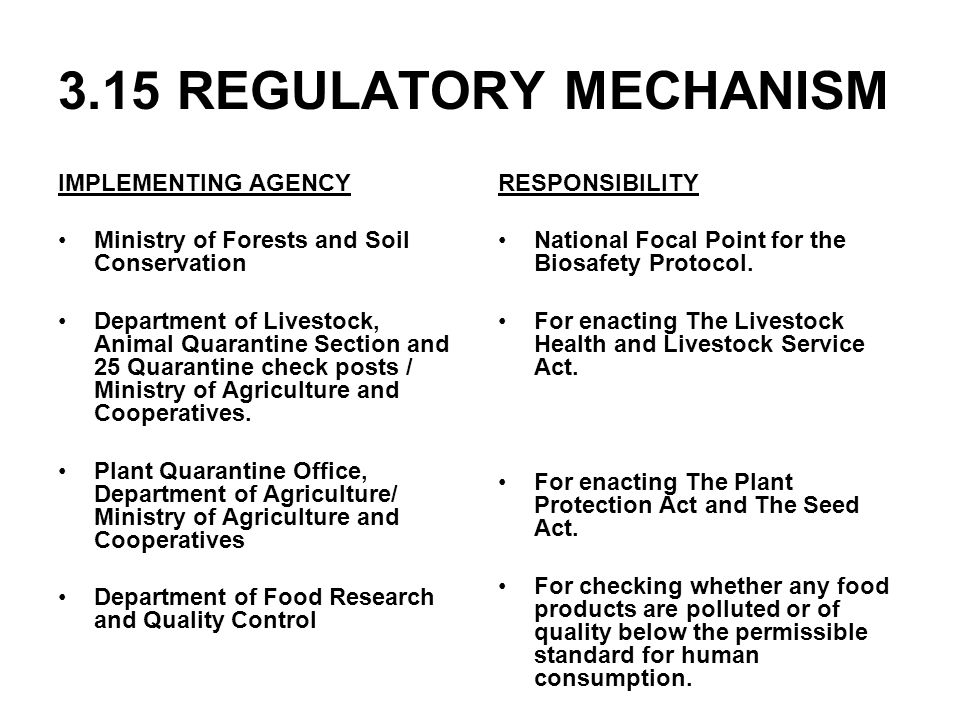 3.15 REGULATORY MECHANISM IMPLEMENTING AGENCY