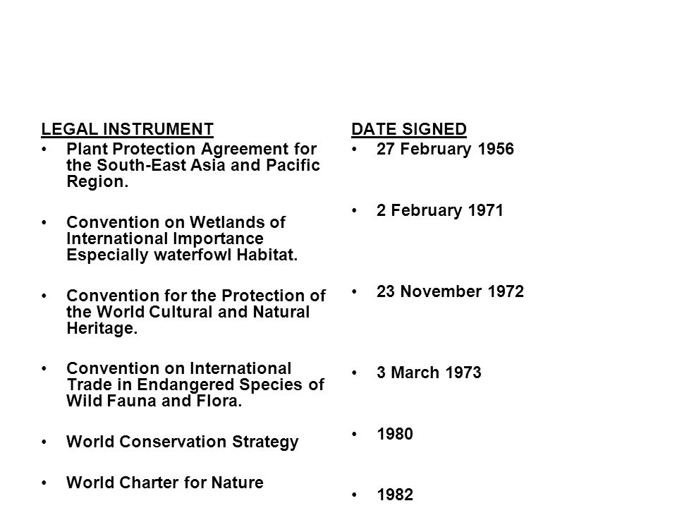 LEGAL INSTRUMENT Plant Protection Agreement for the South-East Asia and Pacific Region.
