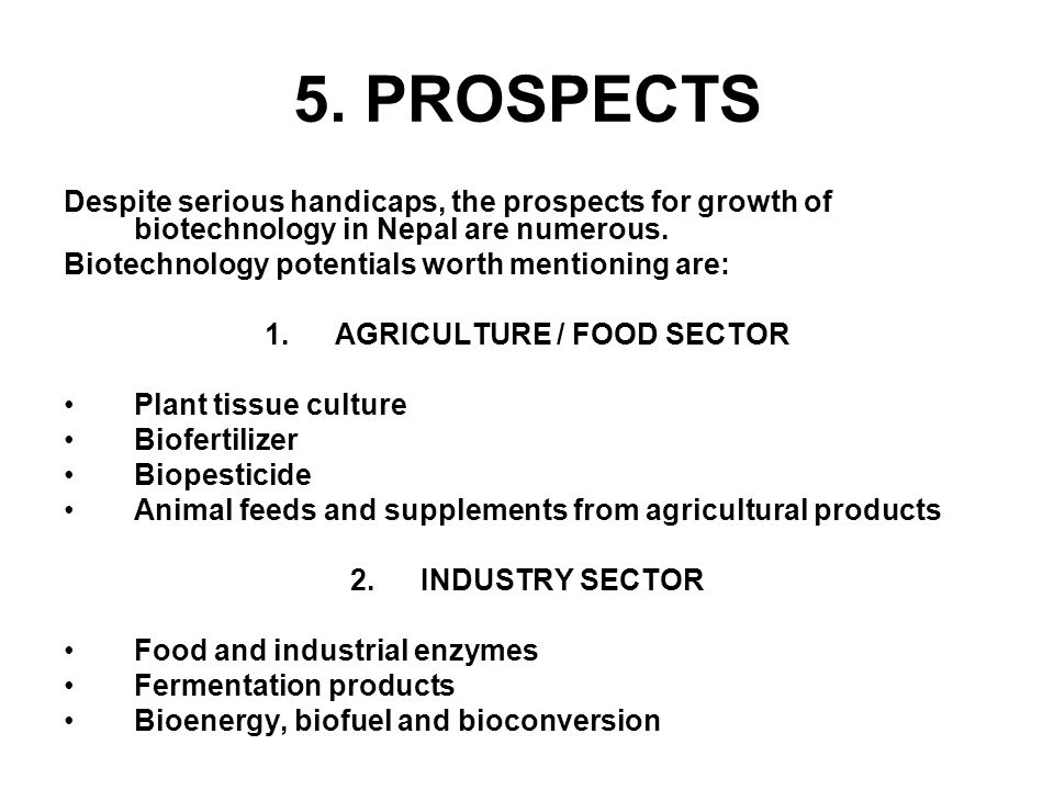 AGRICULTURE / FOOD SECTOR