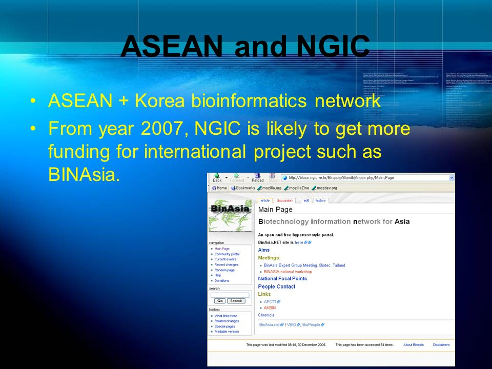 ASEAN and NGIC ASEAN + Korea bioinformatics network