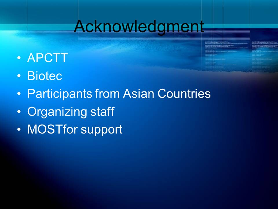 Acknowledgment APCTT Biotec Participants from Asian Countries