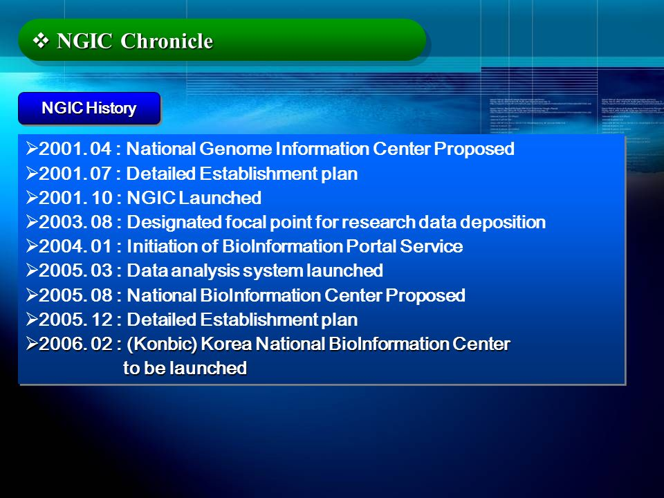 NGIC Chronicle 2001. 04 : National Genome Information Center Proposed