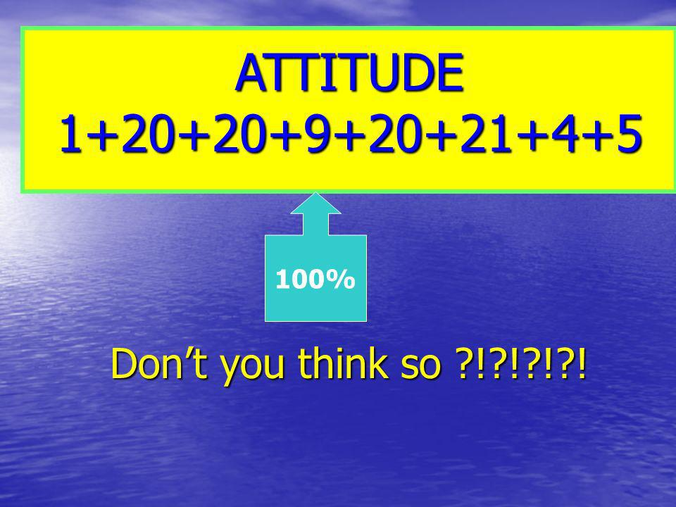 ATTITUDE 1+20+20+9+20+21+4+5 100% Don't you think so ! ! ! !