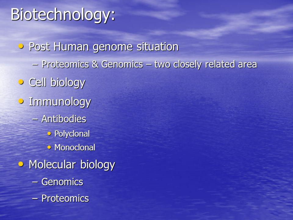 Biotechnology: Post Human genome situation Cell biology Immunology