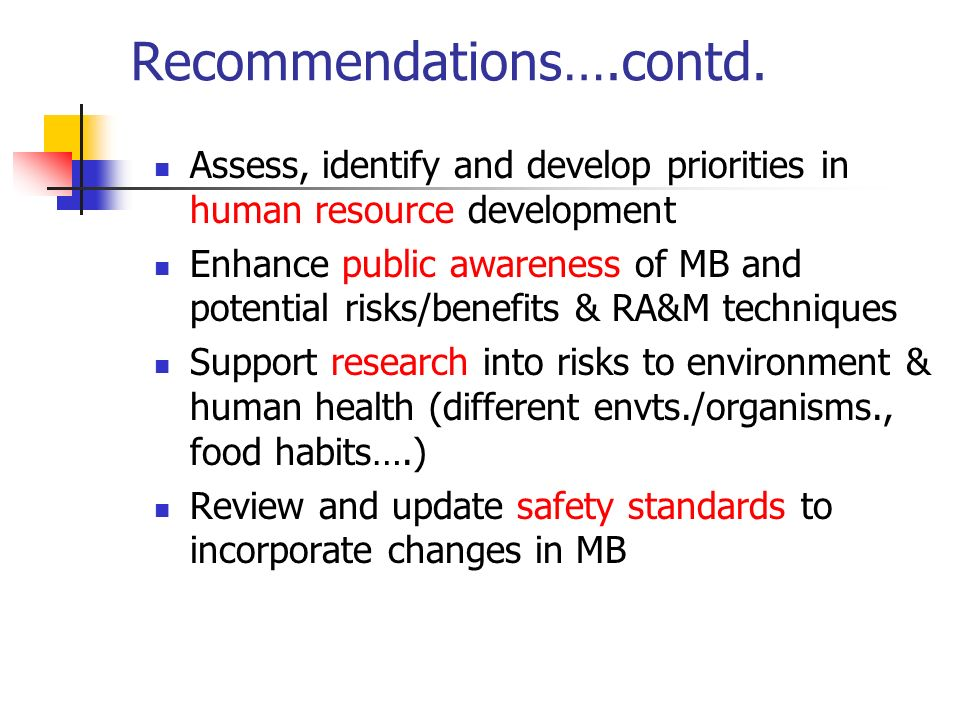 Recommendations….contd.