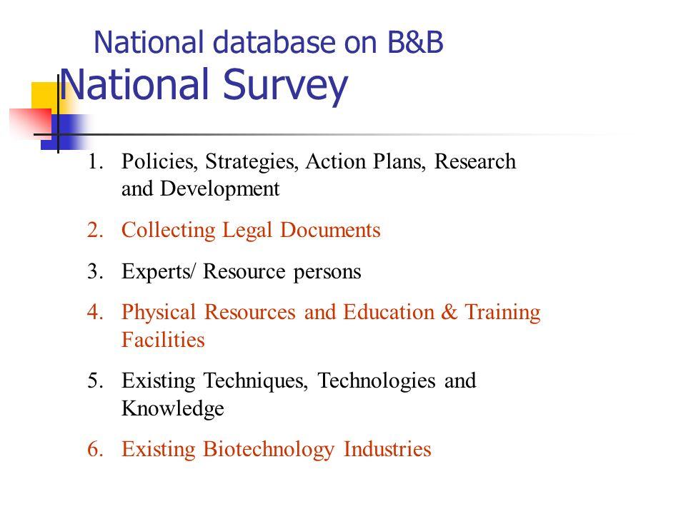 National database on B&B