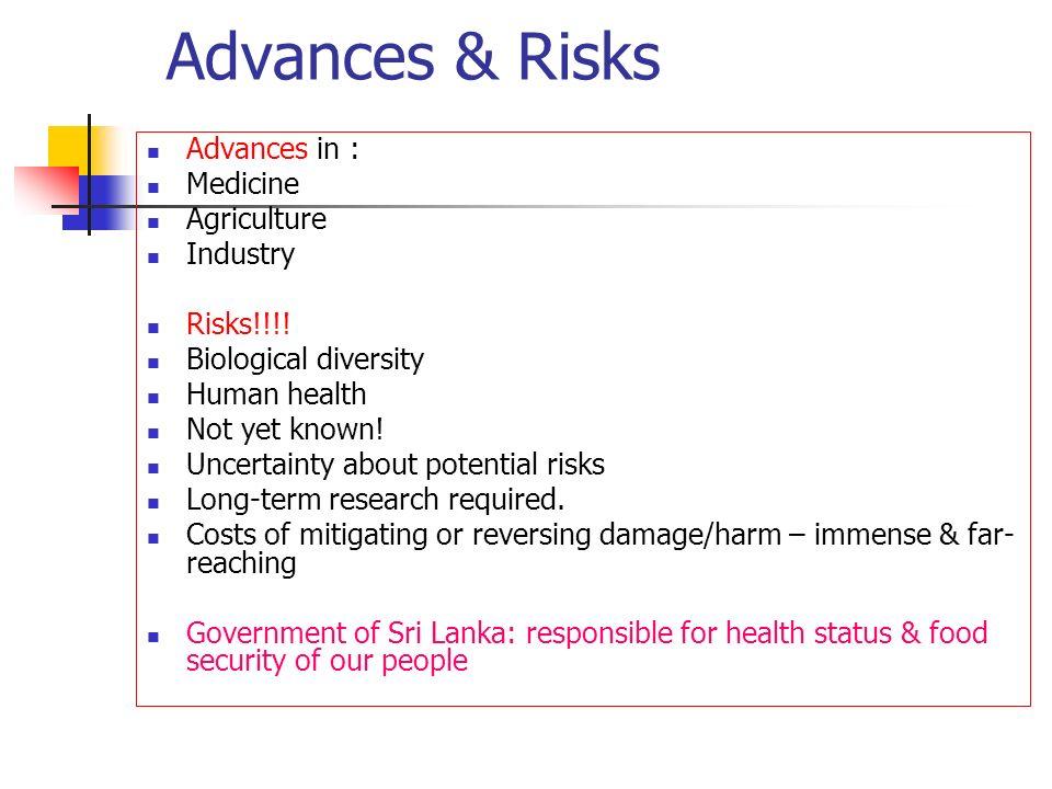 Advances & Risks Advances in : Medicine Agriculture Industry Risks!!!!