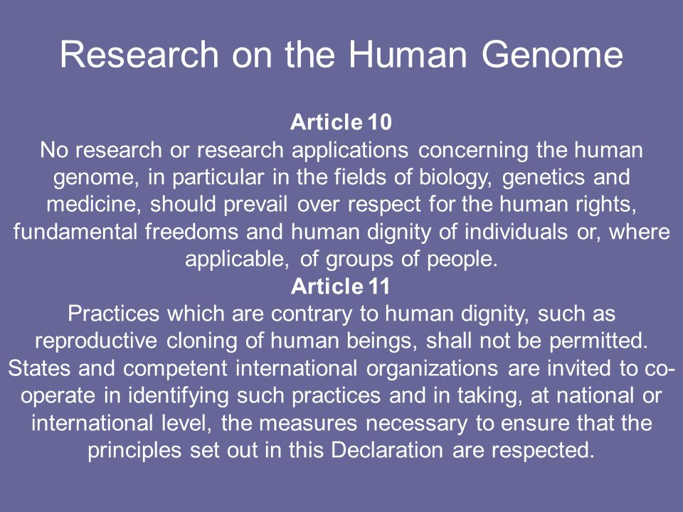 Research on the Human Genome