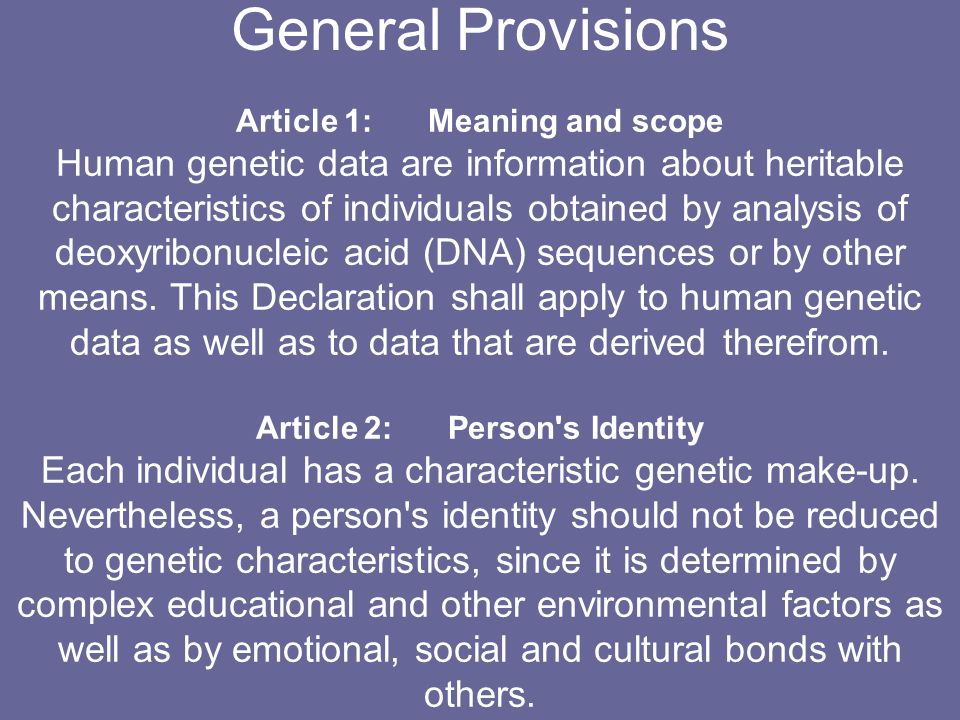 Article 1: Meaning and scope Article 2: Person s Identity