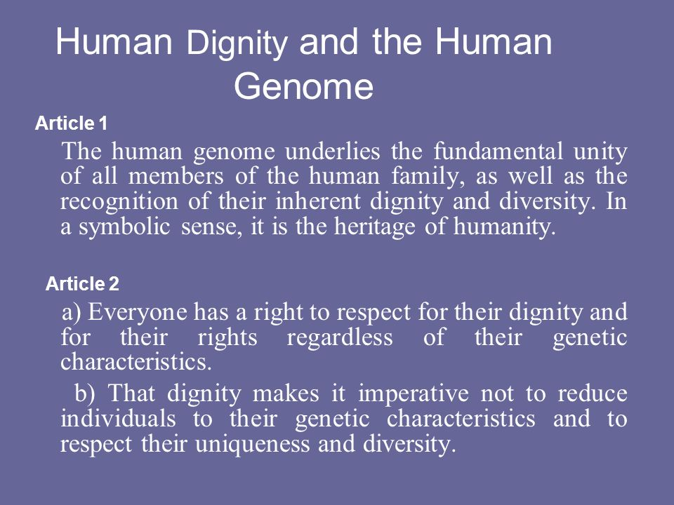 Human Dignity and the Human Genome