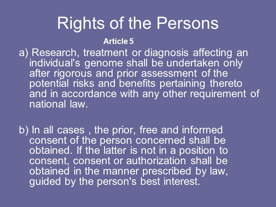 Rights of the Persons Article 5.
