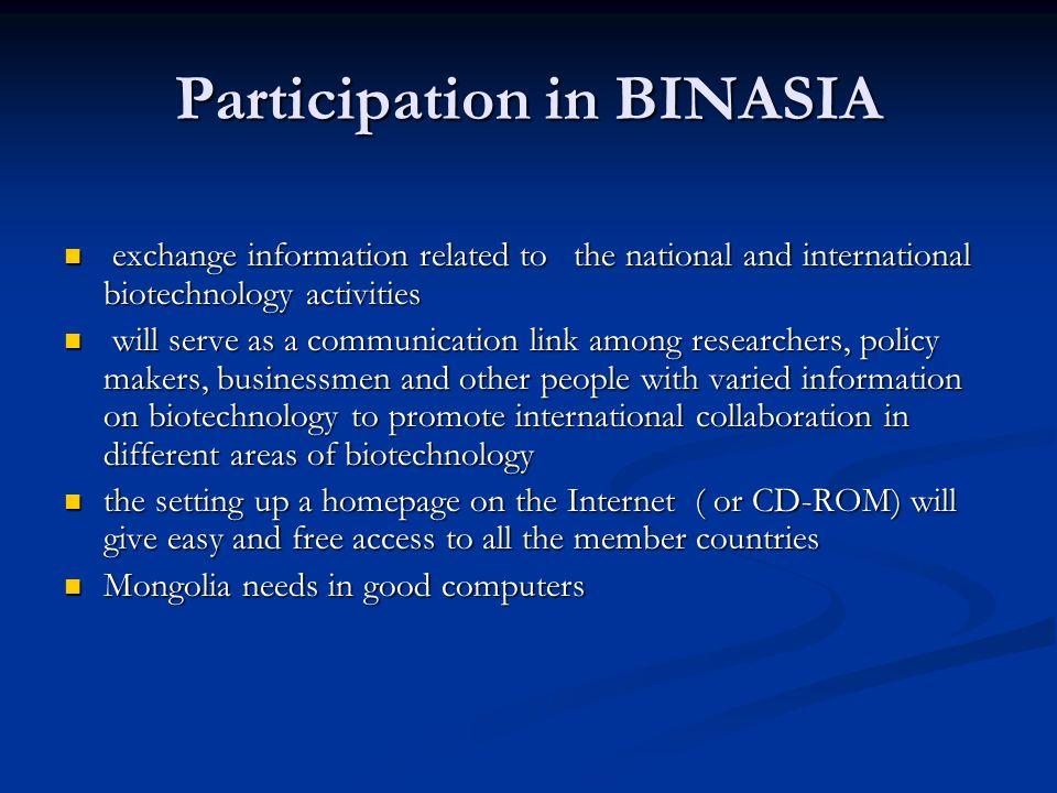 Participation in BINASIA