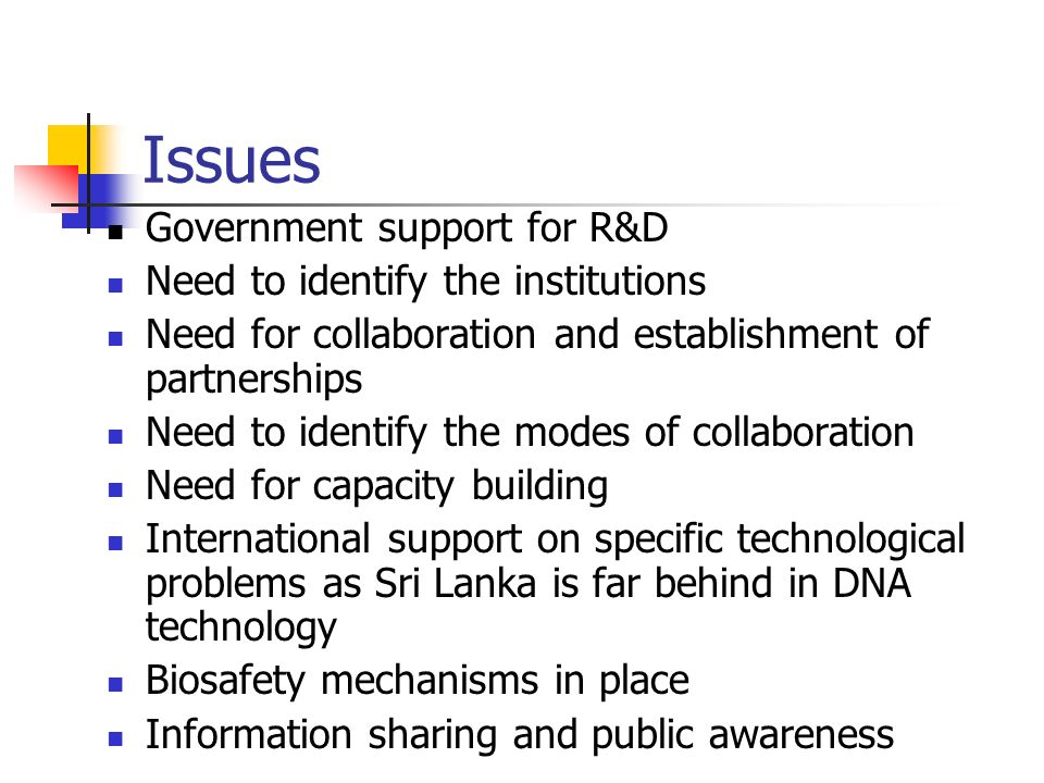 Issues Government support for R&D Need to identify the institutions
