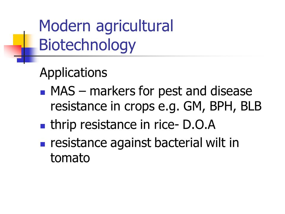 Modern agricultural Biotechnology