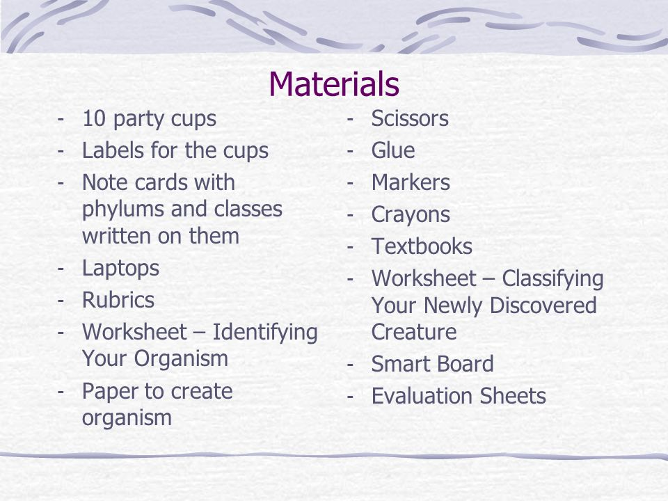 Materials 10 party cups Labels for the cups