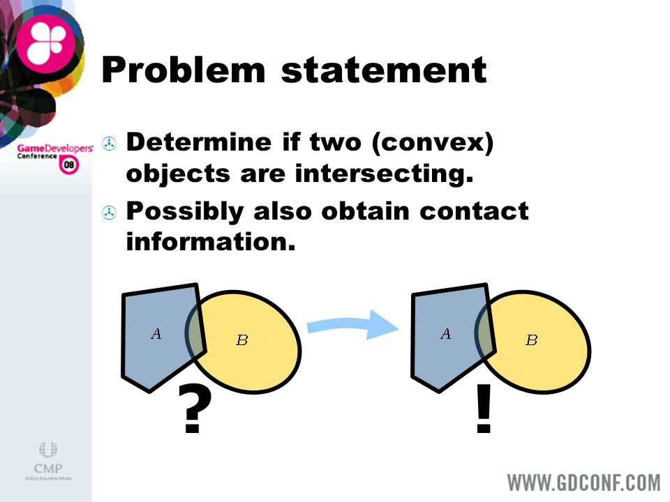 Problem statement Determine if two (convex) objects are intersecting. Possibly also obtain contact information.