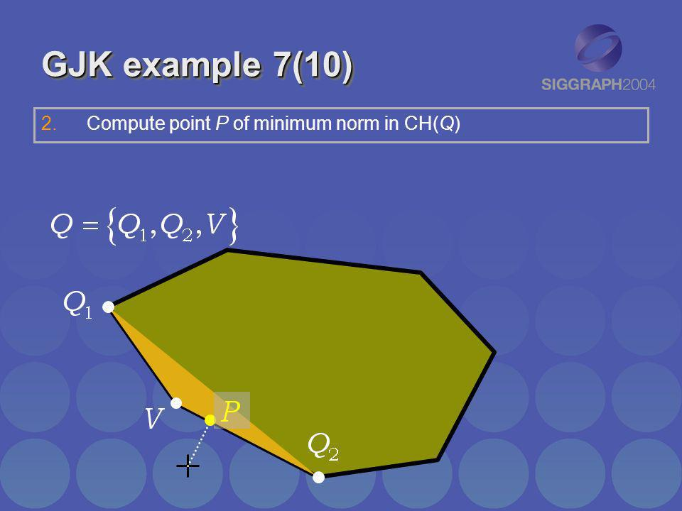 GJK example 7(10) Compute point P of minimum norm in CH(Q)
