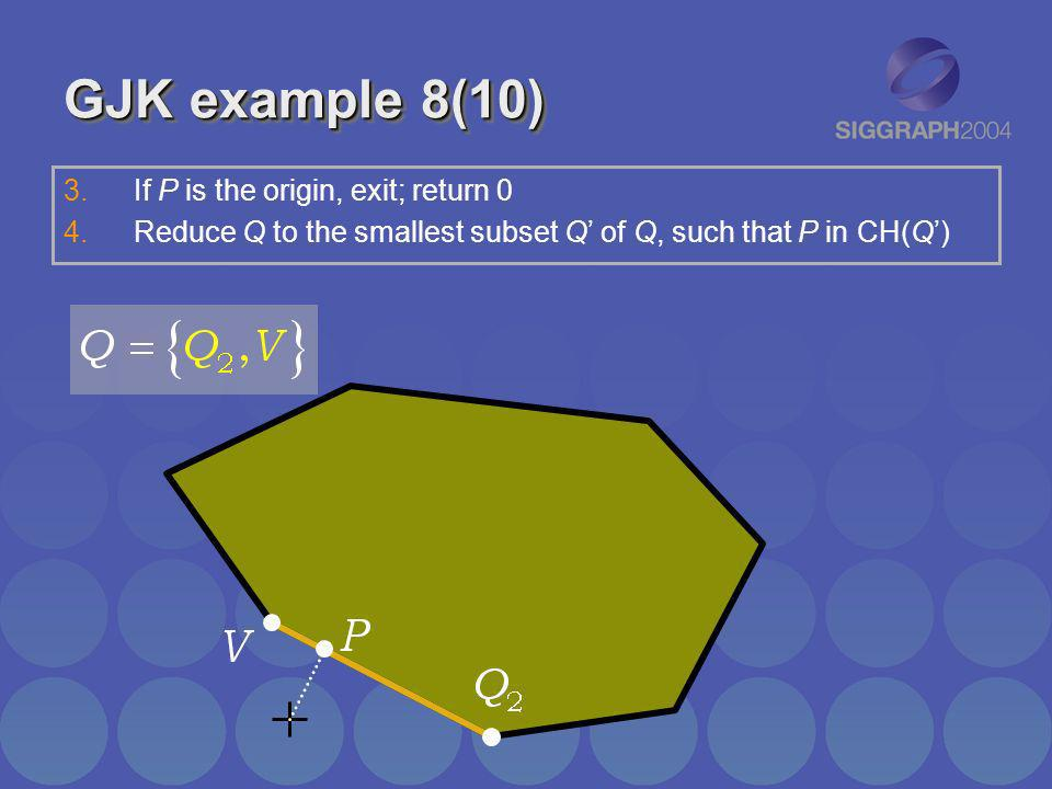 GJK example 8(10) If P is the origin, exit; return 0