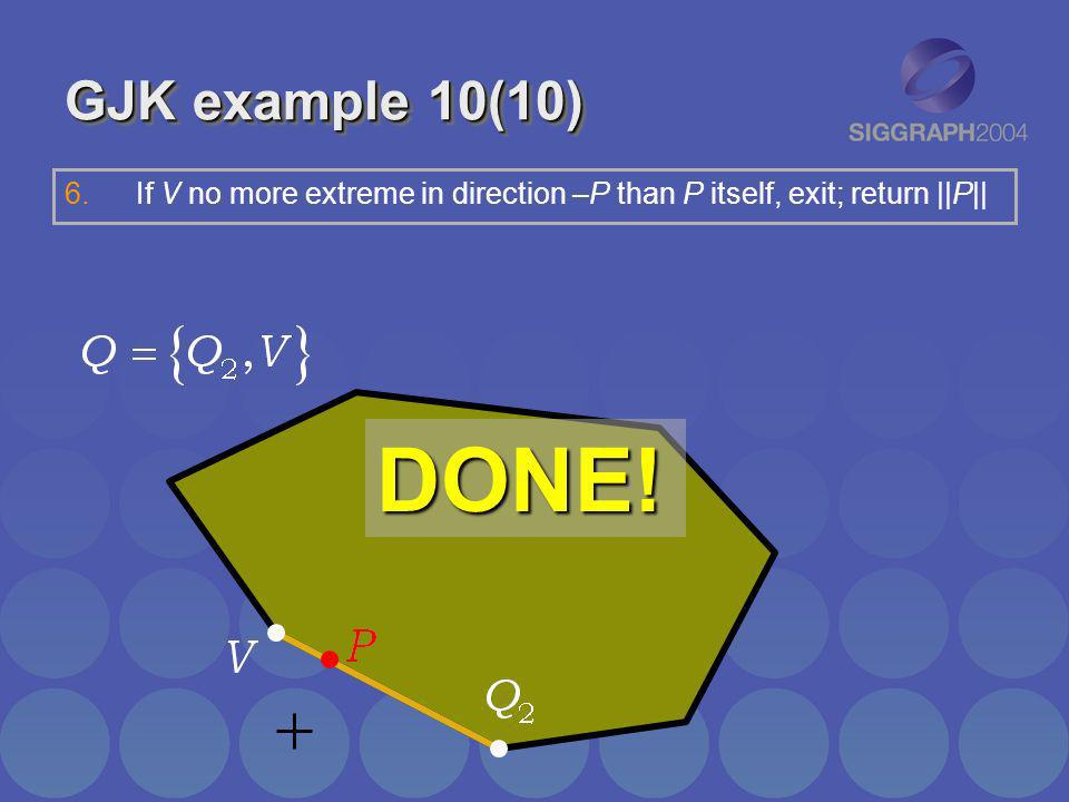 GJK example 10(10)If V no more extreme in direction –P than P itself, exit; return ||P|| DONE!