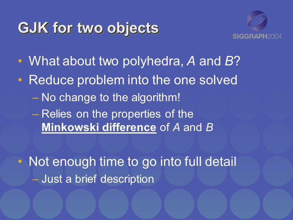 GJK for two objects What about two polyhedra, A and B