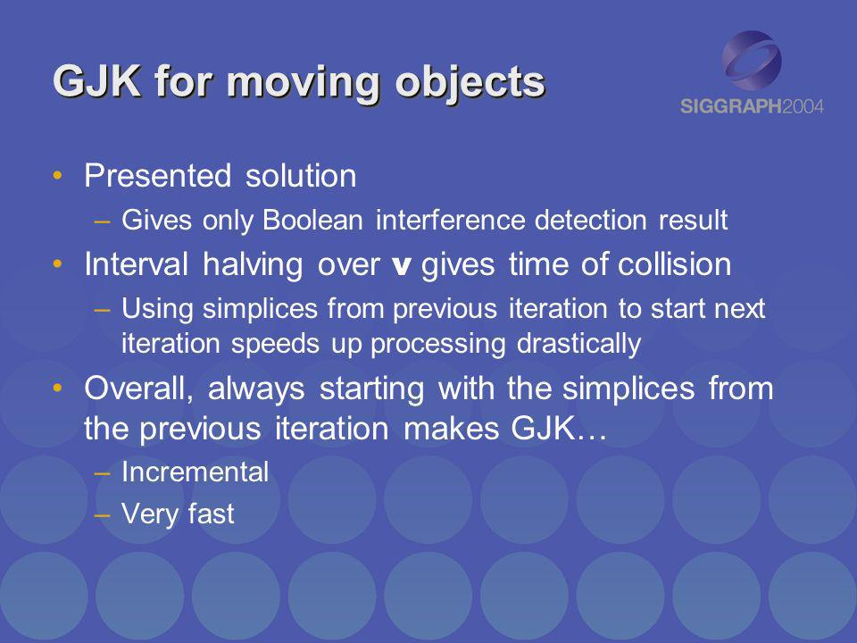 GJK for moving objects Presented solution