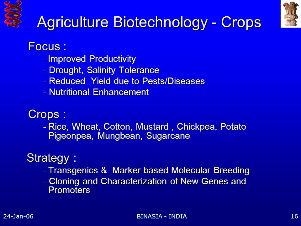 Agriculture Biotechnology - Crops