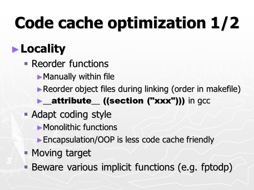 Code cache optimization 1/2