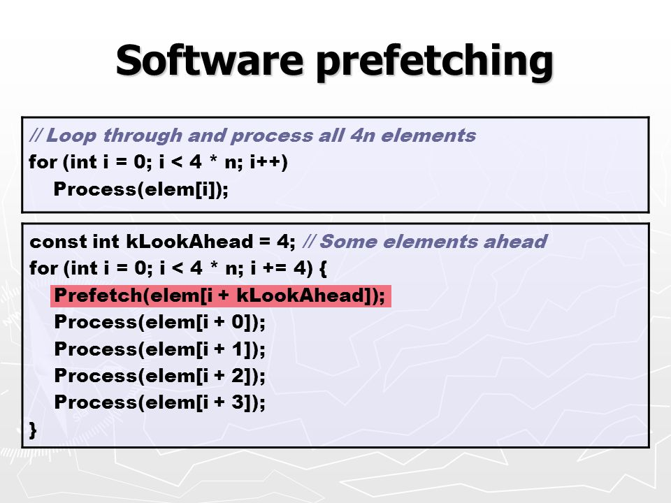 Software prefetching // Loop through and process all 4n elements