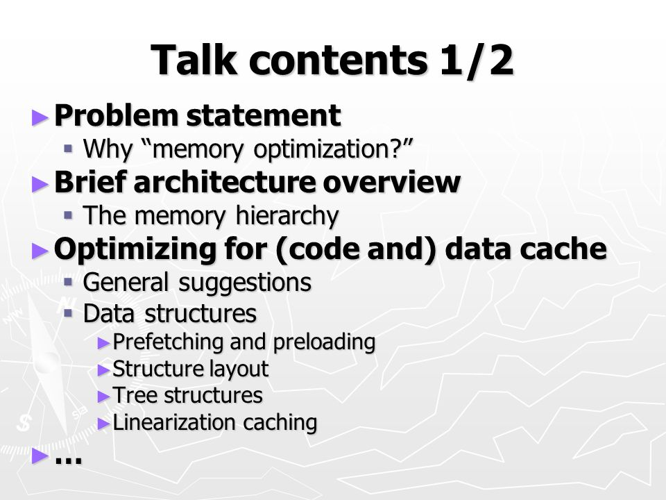 Talk contents 1/2 Problem statement Brief architecture overview