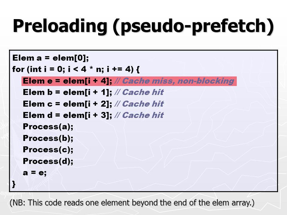 Preloading (pseudo-prefetch)