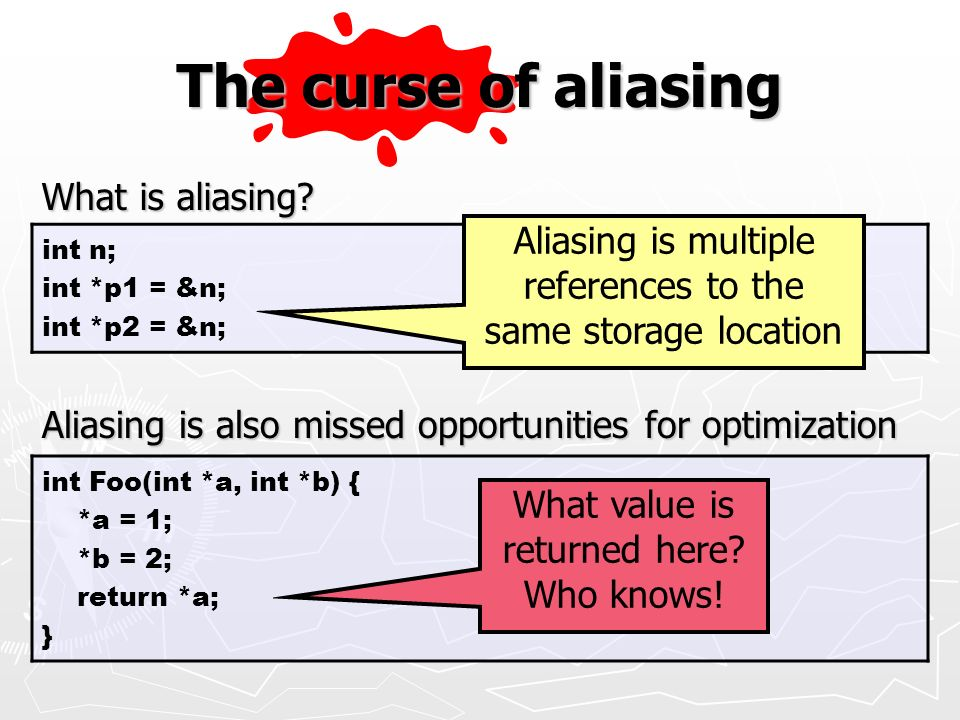 The curse of aliasing Aliasing is multiple What is aliasing