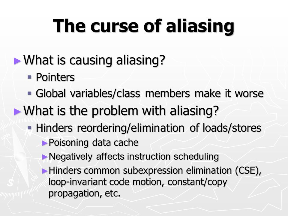The curse of aliasing What is causing aliasing