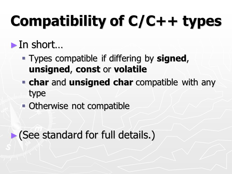 Compatibility of C/C++ types