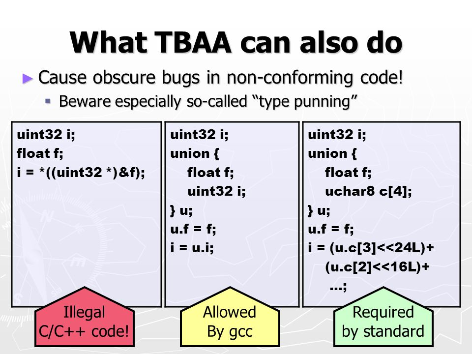 What TBAA can also do Cause obscure bugs in non-conforming code!