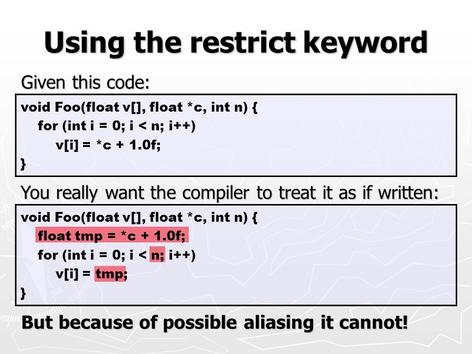 Using the restrict keyword