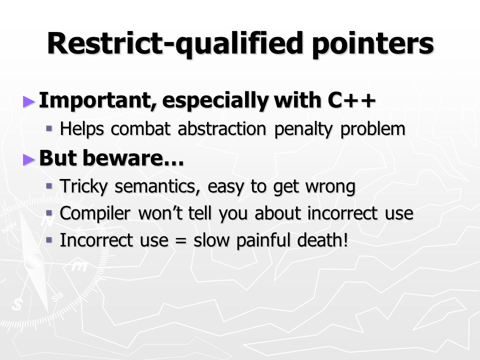 Restrict-qualified pointers