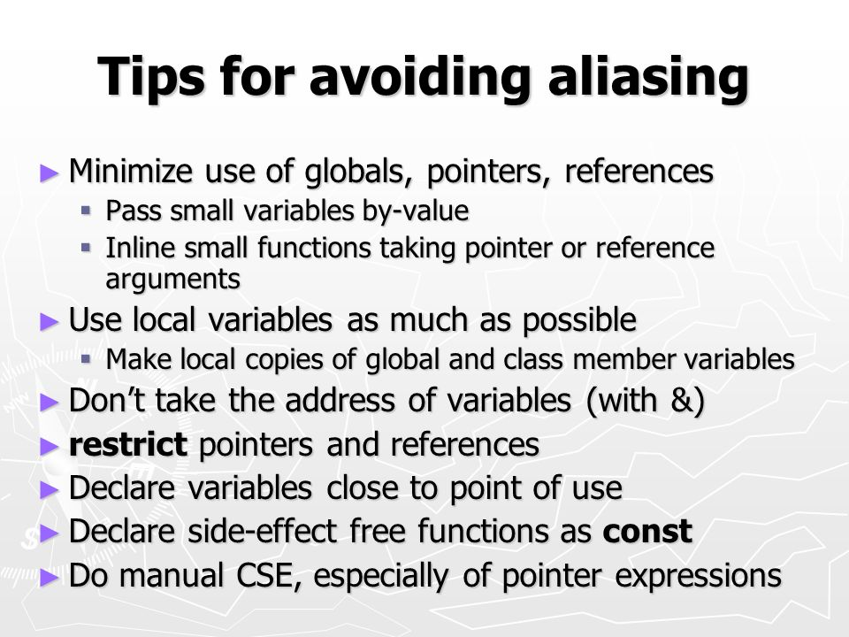 Tips for avoiding aliasing
