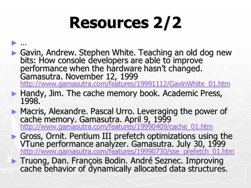 Resources 2/2 …
