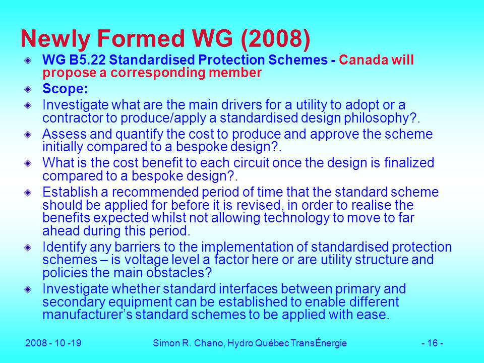 Simon R. Chano, Hydro Québec TransÉnergie