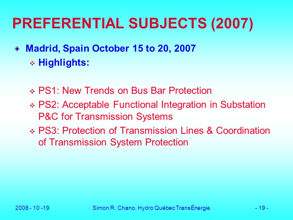 PREFERENTIAL SUBJECTS (2007)