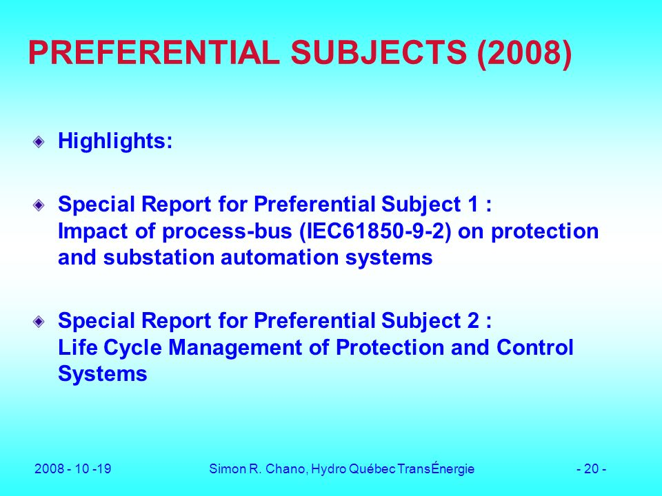 PREFERENTIAL SUBJECTS (2008)
