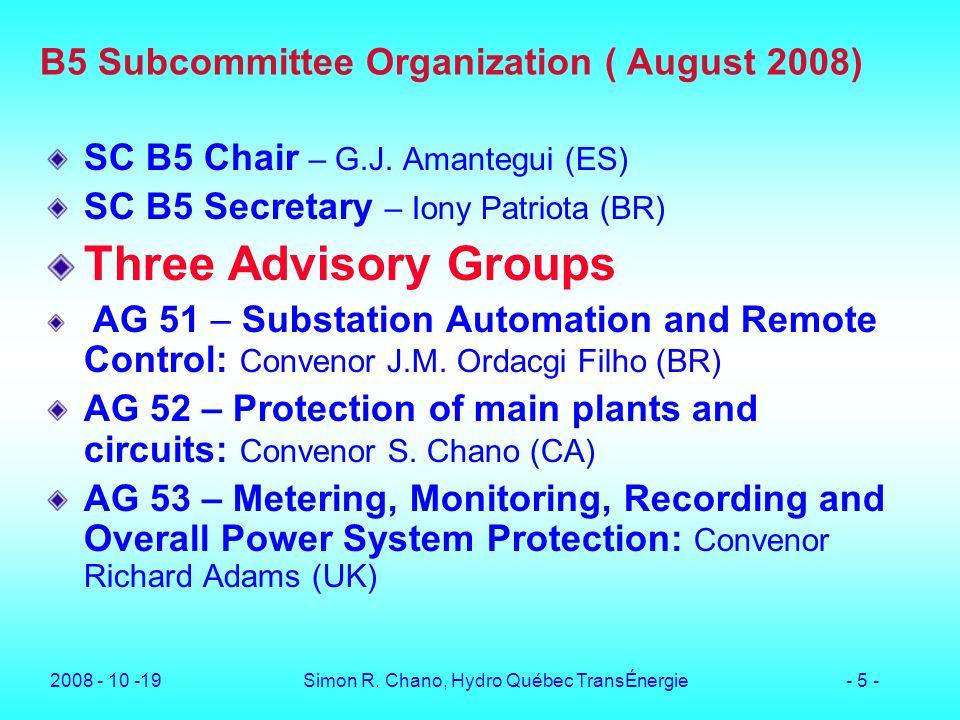 B5 Subcommittee Organization ( August 2008)