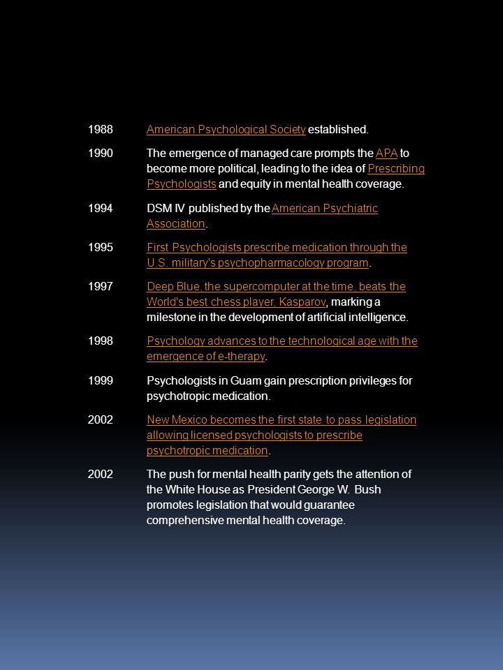 1988 American Psychological Society established. 1990.