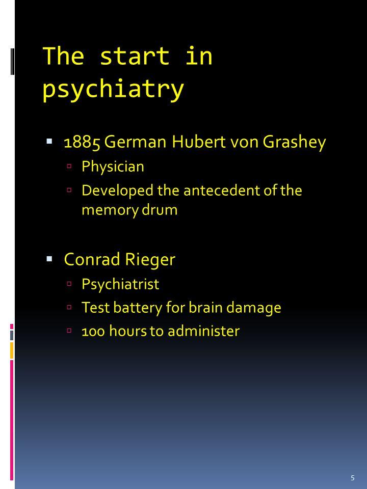 The start in psychiatry