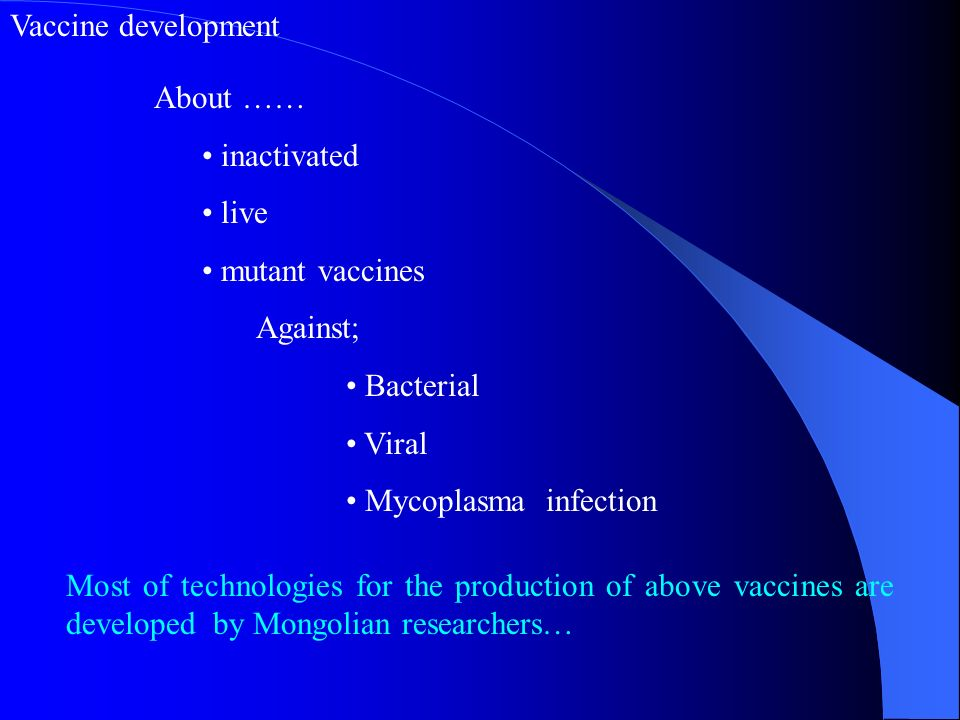 Vaccine development About …… inactivated. live. mutant vaccines. Against; Bacterial. Viral. Mycoplasma infection.