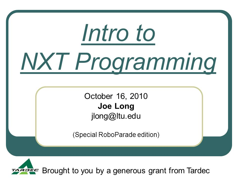 Intro to NXT Programming