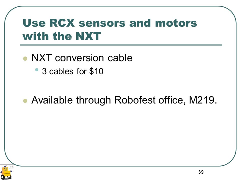Use RCX sensors and motors with the NXT